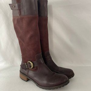 Timberland Women Riding Boots Burgundy Leather